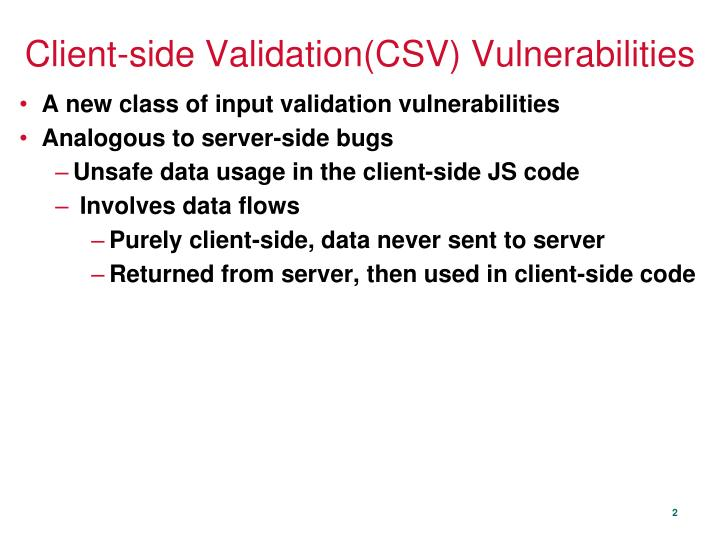 Client side validation csv vulnerabilities