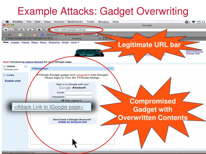 Example Attacks: Gadget Overwriting
