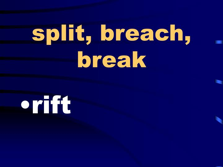 split, breach, break