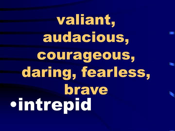 valiant, audacious, courageous, daring, fearless, brave