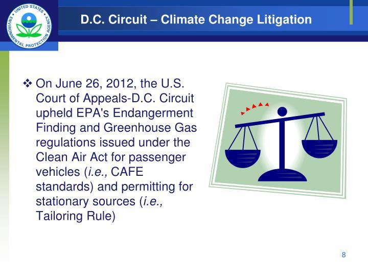 D.C. Circuit – Climate Change Litigation
