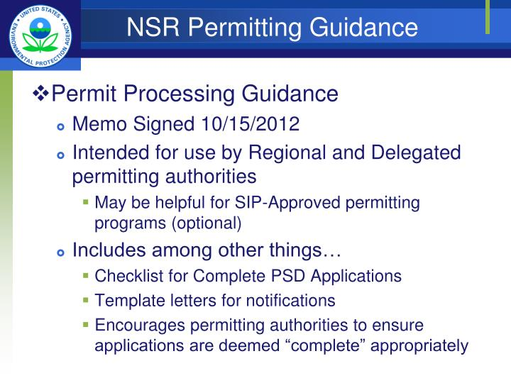 NSR Permitting Guidance
