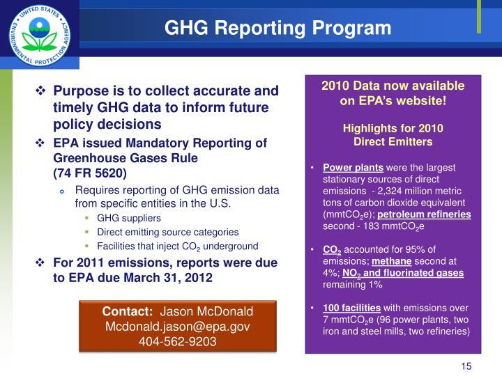 GHG Reporting Program