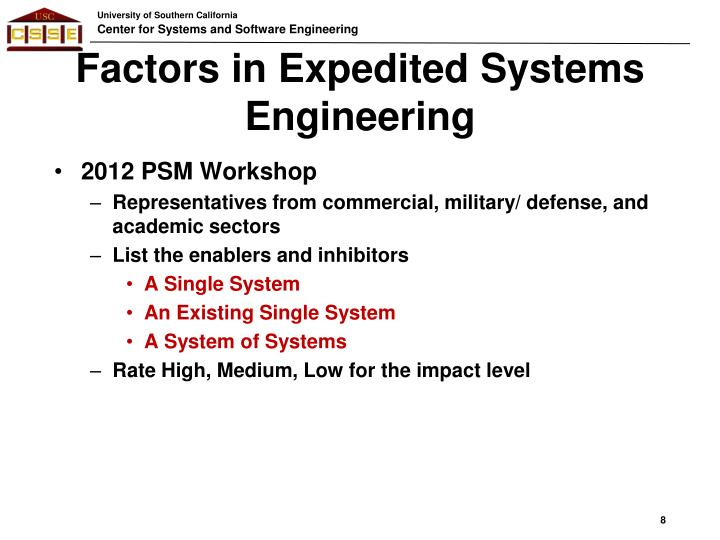 Factors in Expedited Systems Engineering
