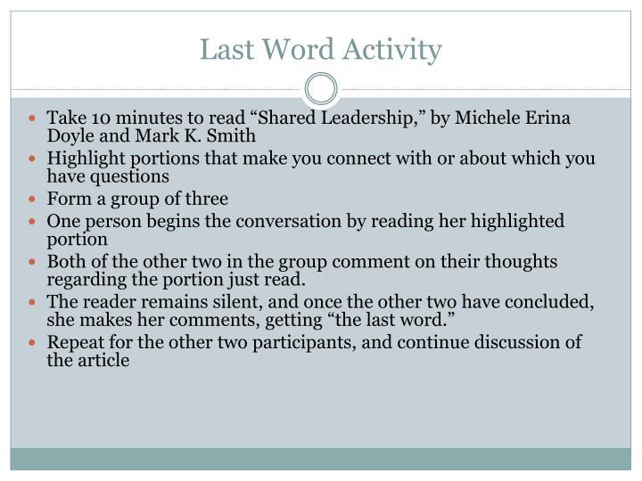 Last Word Activity