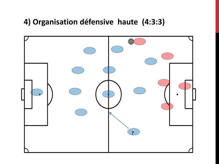 4) Organisation défensive  haute  (4:3:3)