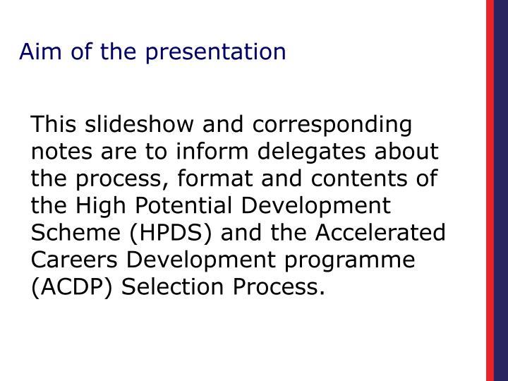 Aim of the presentation