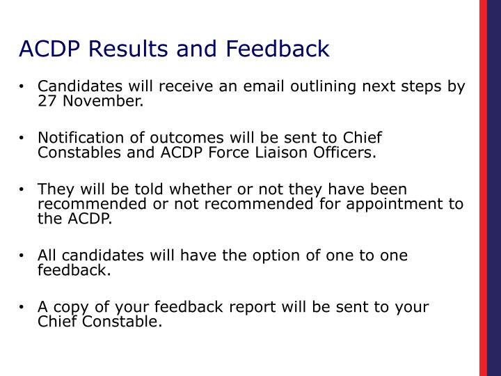 ACDP Results and Feedback