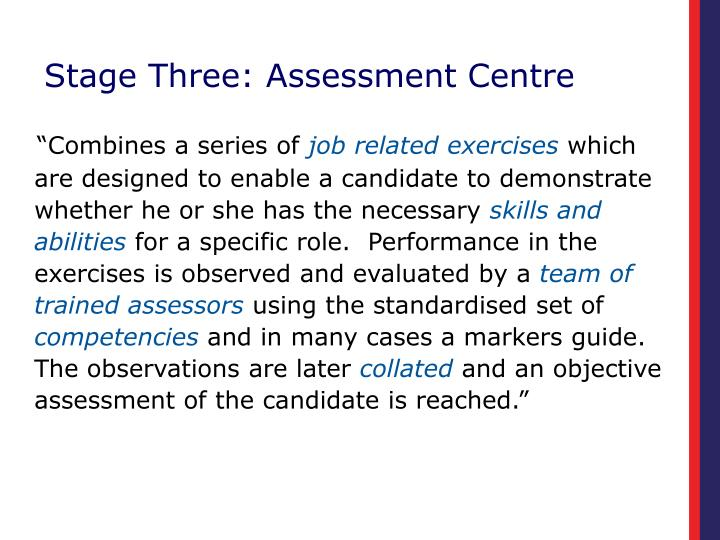 Stage Three: Assessment Centre