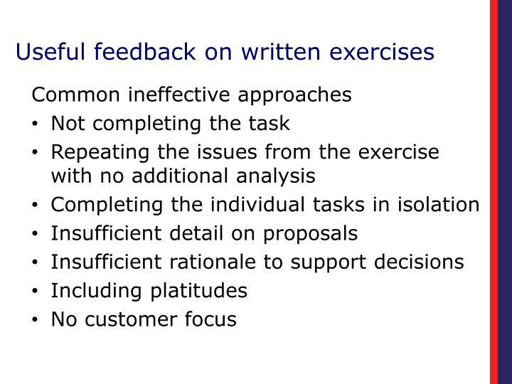 Useful feedback on written exercises