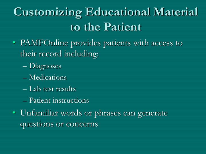 Customizing Educational Material to the Patient
