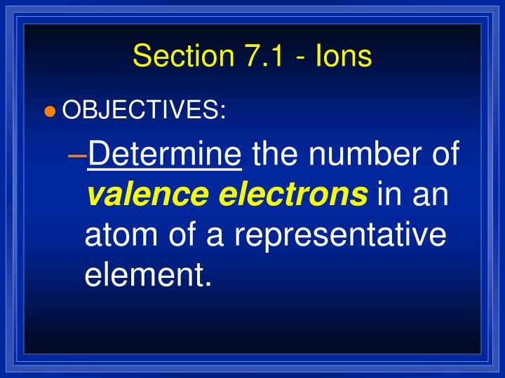 Section 7.1 - Ions