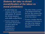sistema del tabu vs divieti morali system of the taboo vs moral prohibition