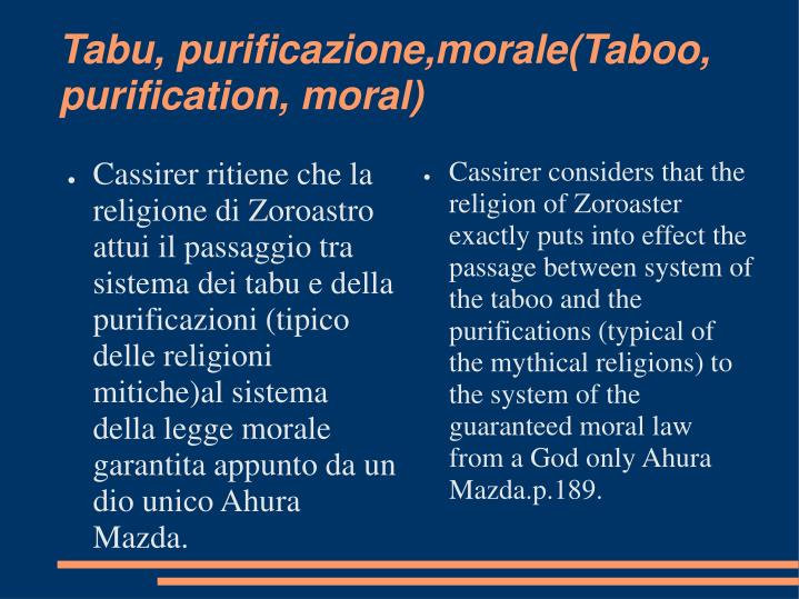 Tabu purificazione morale taboo purification moral