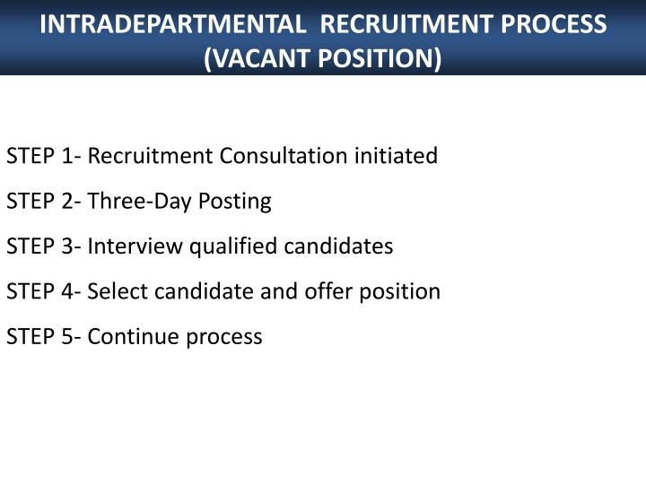 INTRADEPARTMENTAL  RECRUITMENT PROCESS (VACANT POSITION)