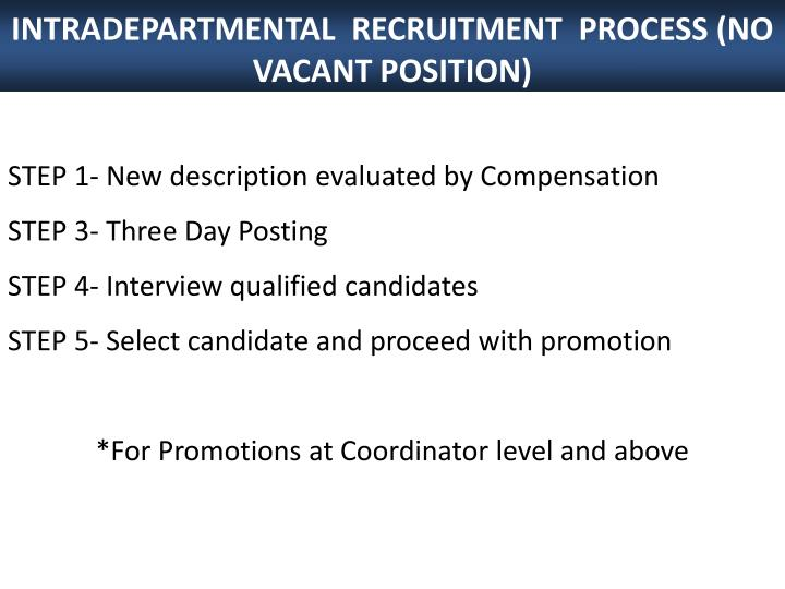 INTRADEPARTMENTAL  RECRUITMENT  PROCESS (NO VACANT POSITION)