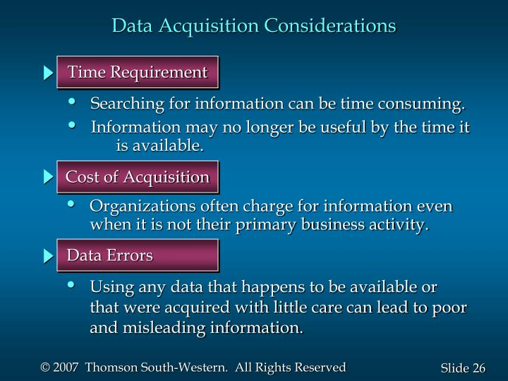 Data Acquisition Considerations