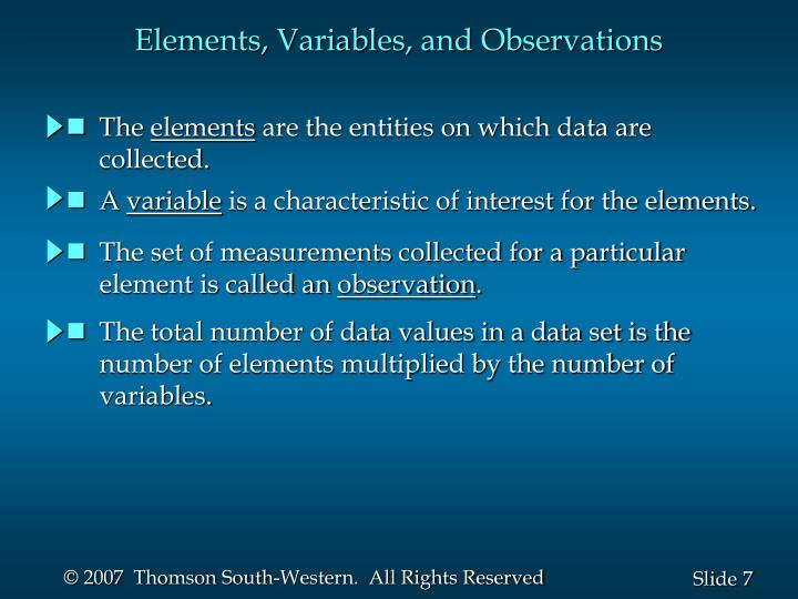 Elements, Variables, and Observations