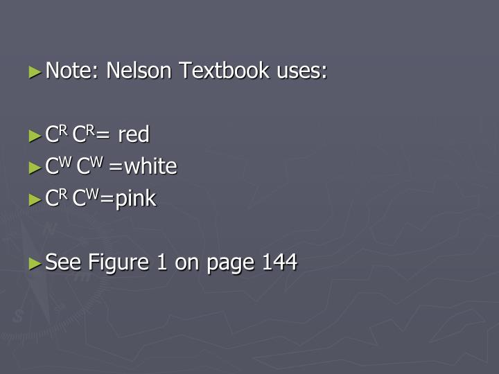 Note: Nelson Textbook uses: