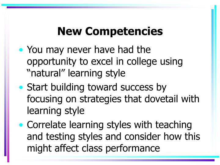 New Competencies