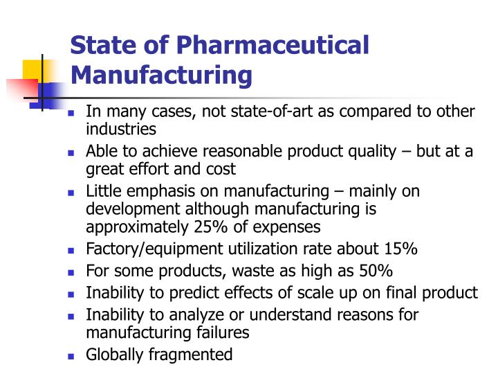 State of Pharmaceutical Manufacturing