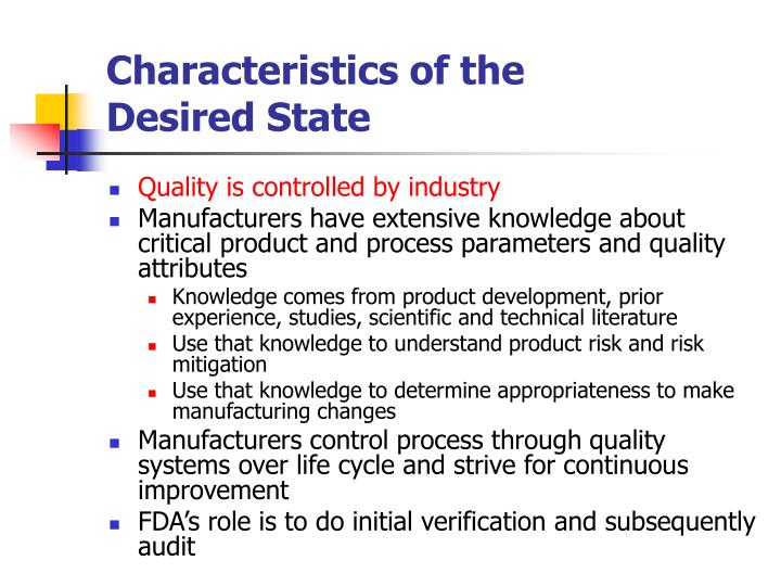 Characteristics of the Desired State