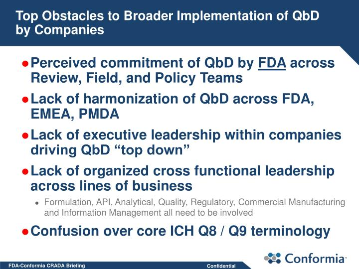 Top Obstacles to Broader Implementation of QbD by Companies