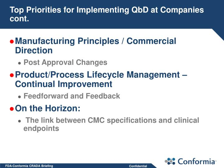 Top Priorities for Implementing QbD at Companies cont.