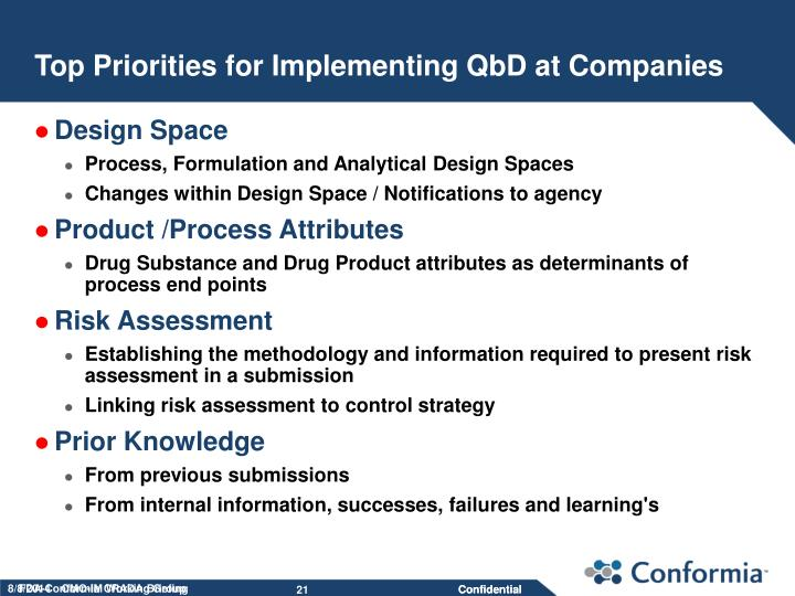 Top Priorities for Implementing QbD at Companies