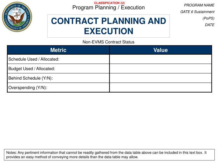 Program Planning / Execution