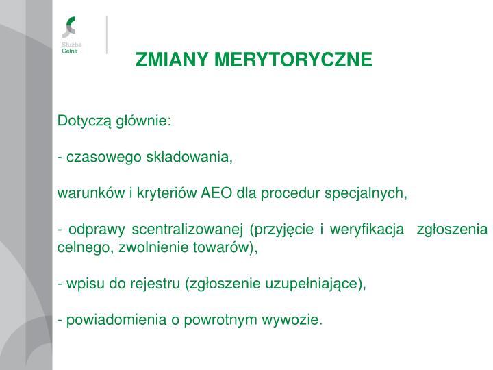 ZMIANY MERYTORYCZNE