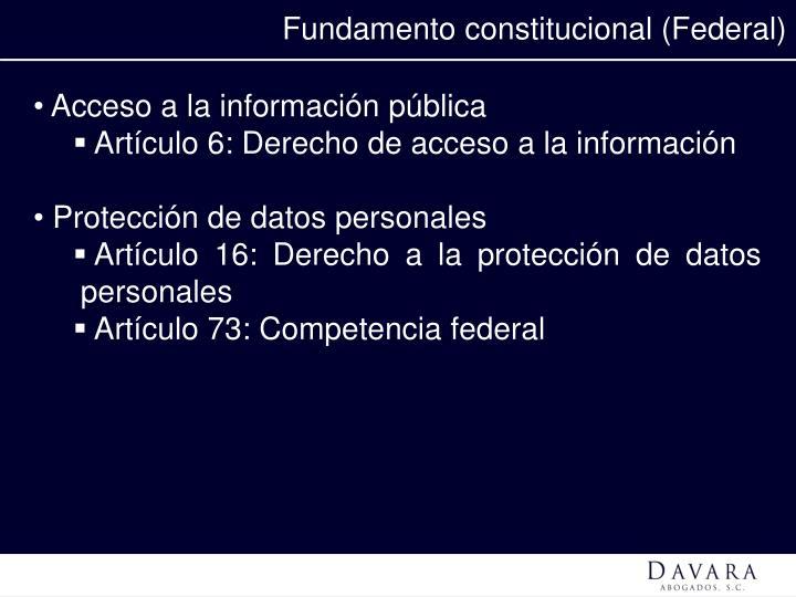 Fundamento constitucional (Federal)