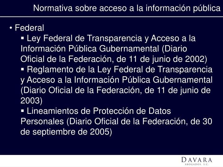 Normativa sobre acceso a la información pública