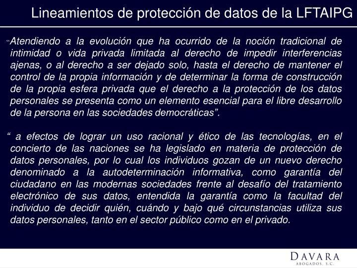 Lineamientos de protección de datos de la LFTAIPG