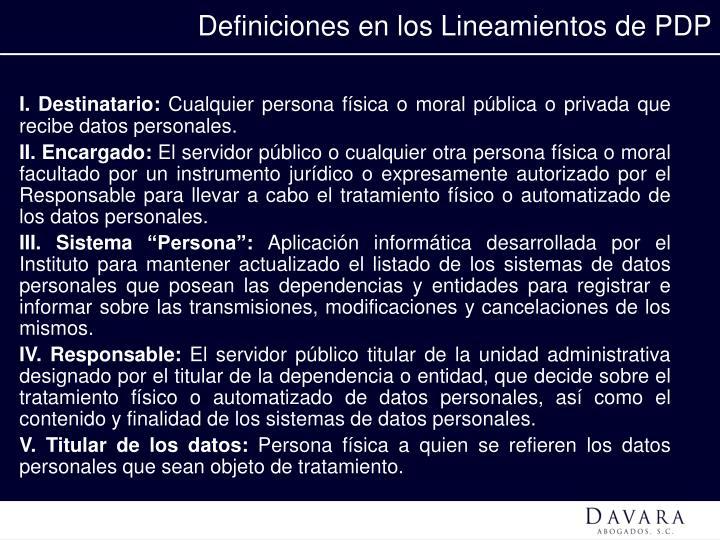 Definiciones en los Lineamientos de PDP