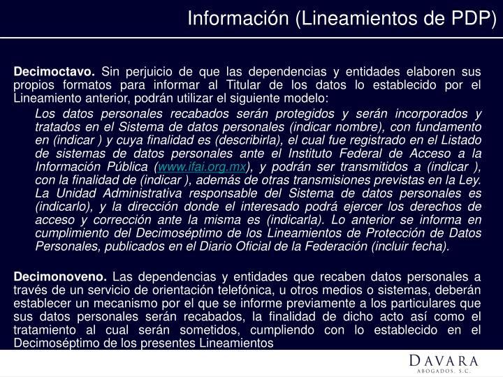 Información (Lineamientos de PDP)