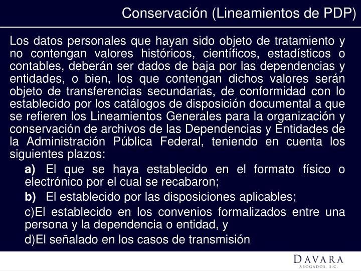 Conservación (Lineamientos de PDP)