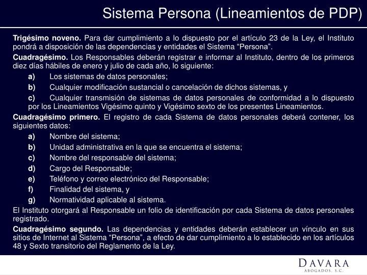 Sistema Persona (Lineamientos de PDP)
