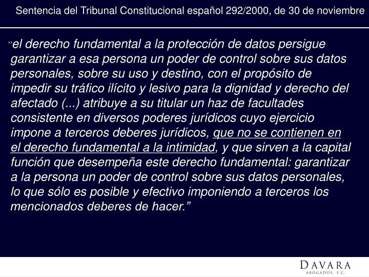 Sentencia del Tribunal Constitucional español 292/2000, de 30 de noviembre
