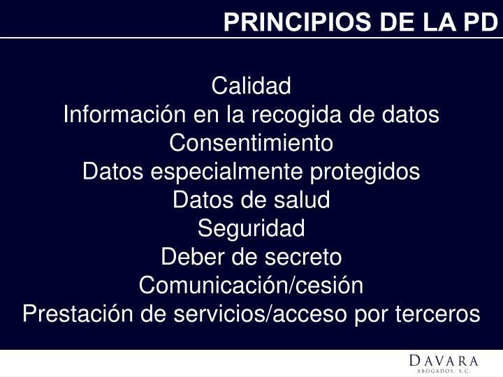 PRINCIPIOS DE LA PD