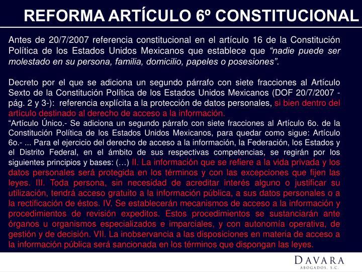 REFORMA ARTÍCULO 6º CONSTITUCIONAL