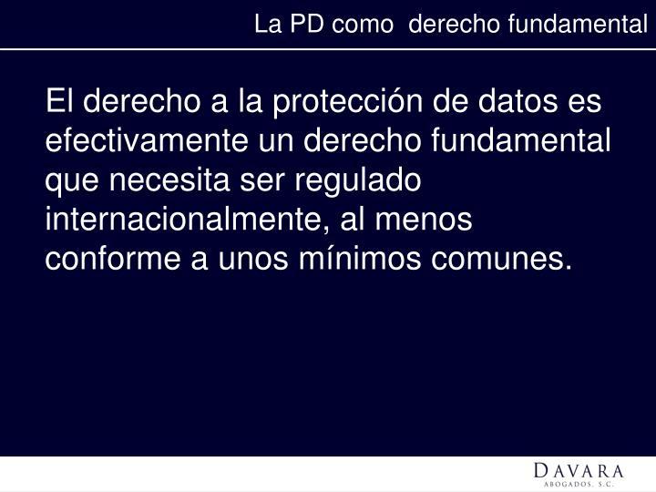La PD como  derecho fundamental