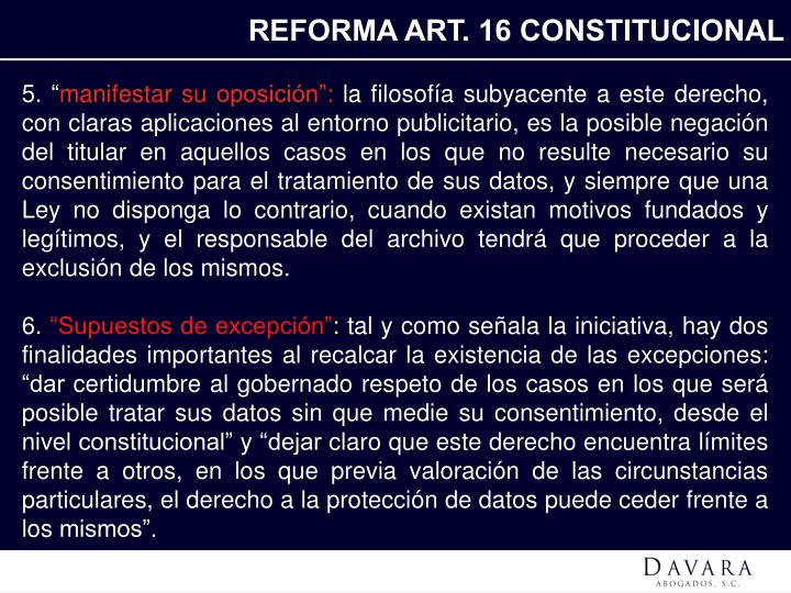 REFORMA ART. 16 CONSTITUCIONAL