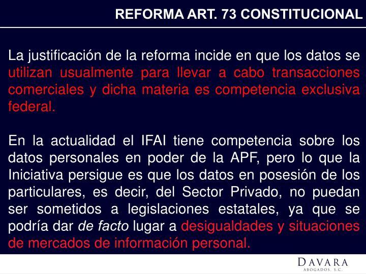REFORMA ART. 73 CONSTITUCIONAL