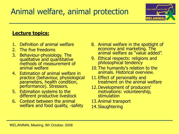 Definition of animal welfare