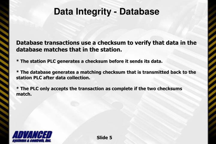 Data Integrity - Database