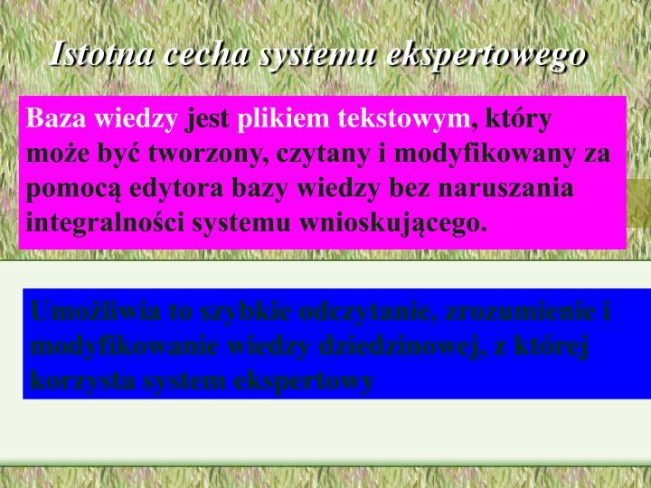 Istotna cecha systemu ekspertowego
