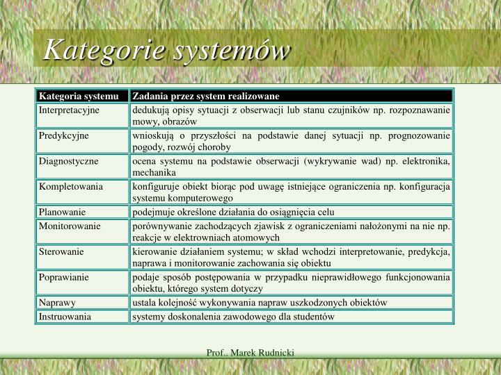 Kategorie systemów