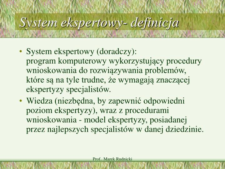 System ekspertowy- definicja