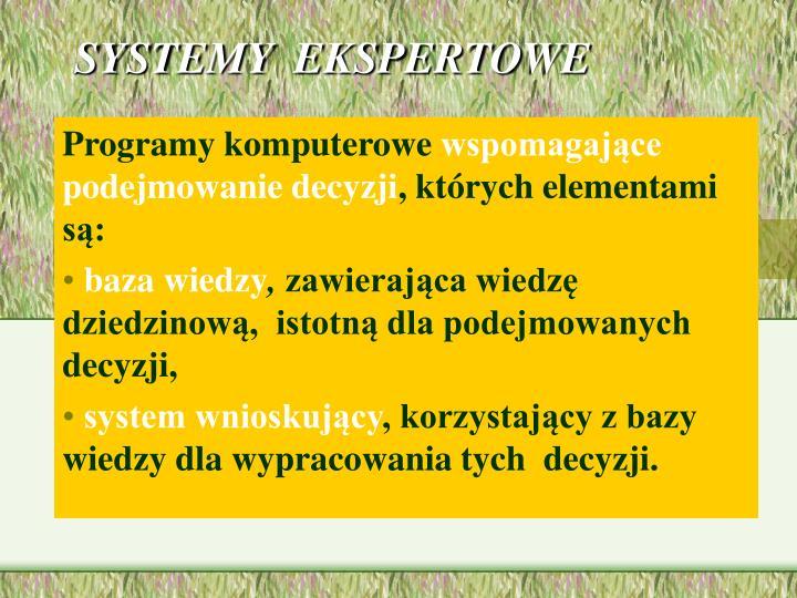 SYSTEMY  EKSPERTOWE